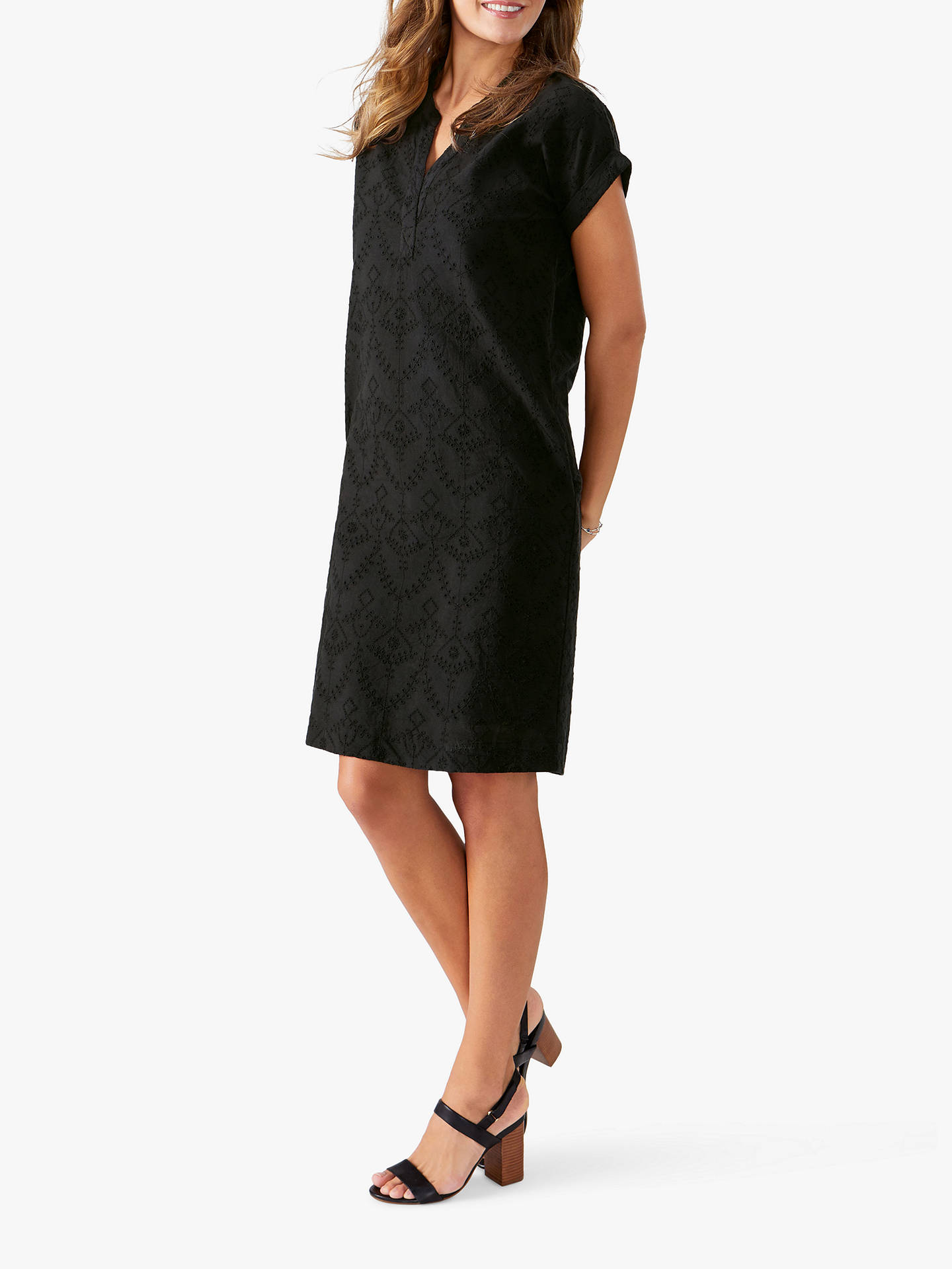 141f7eb9670 Buy Pure Collection Broderie Dress, Black, 8 Online at johnlewis.com ...