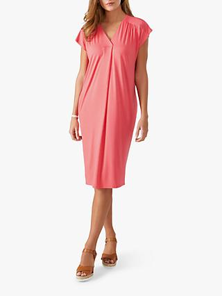 Pure Collection Jersey Relaxed Dress, Rich Coral