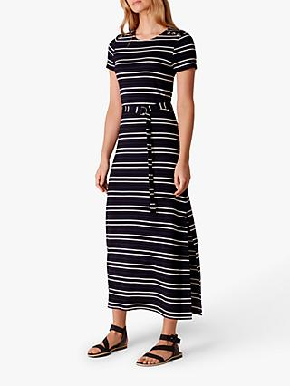 Karen Millen Striped Maxi Dress, Blue/Multi