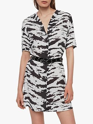 AllSaints Amia Eiger Dress, Black/White