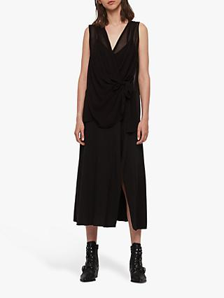 AllSaints Kacie Sheer Draped Dress, Black