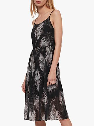 AllSaints Dillon Feather Cotton Dress, Black