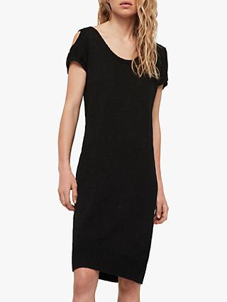 AllSaints Carova Knitted Cold Shoulder Dress, Black