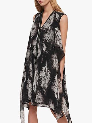 AllSaints Jayda Feathers Dress, Black