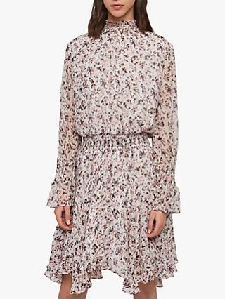 AllSaints Ria Freefall Dress, Chalk White