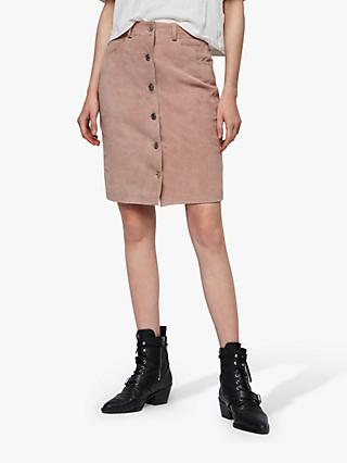 AllSaints Jiro Suede Skirt, Putty Pink