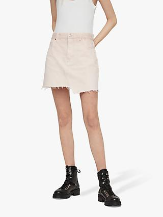 AllSaints Mai Denim Skirt, Pale Pink