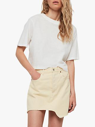 AllSaints Mai Denim Skirt, Pale Yellow