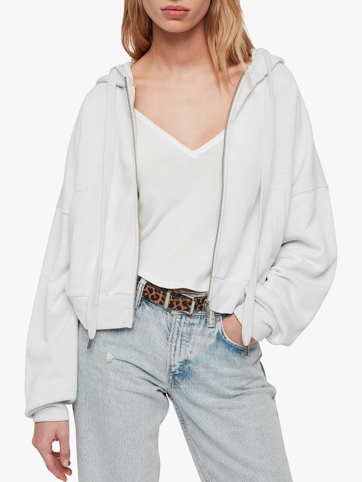 7be76dcfd7 AllSaints Quince Cropped Hoodie, Ivory White at John Lewis & Partners
