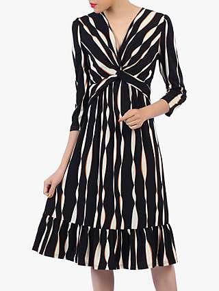 Jolie Moi Flare Hem Midi Dress, Black Wave