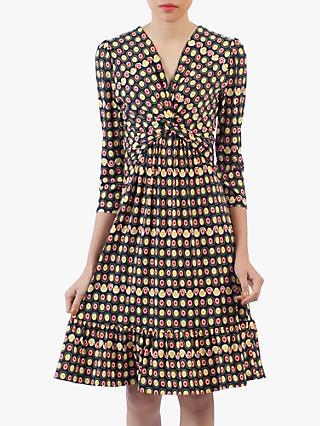 Jolie Moi Twist Front Retro Print Flare Dress, Black/Multi