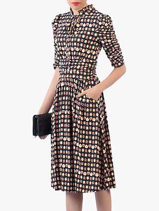 Jolie Moi Print Tie Neckline Midi Dress, Black/Multi