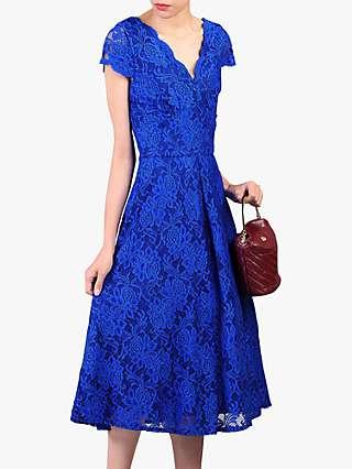 Jolie Moi Cap Sleeve V-Neck Lace Dress, Royal Blue