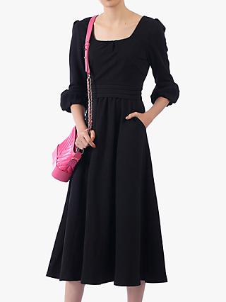 Jolie Moi Bell Sleeve Flare Midi Dress, Black