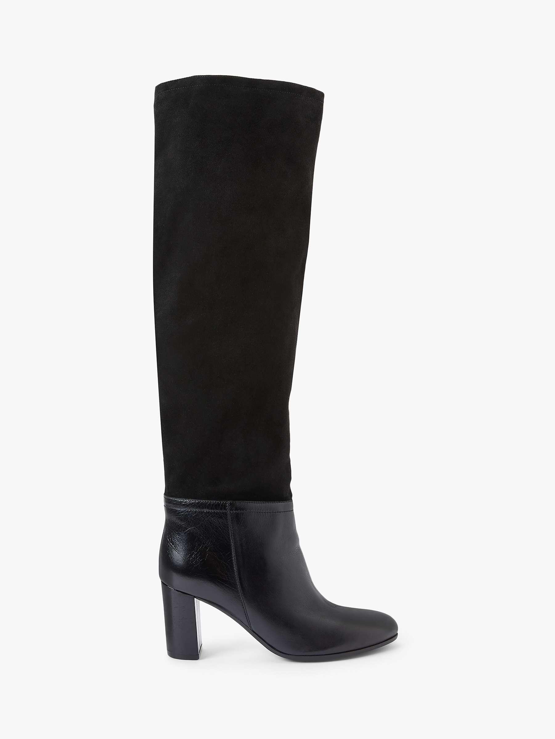 John Lewis & Partners Suri Suede & Leather Knee Boots, Black by John Lewis & Partners