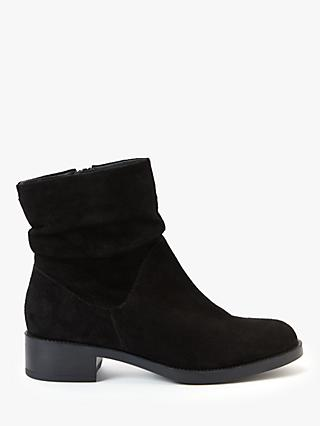 John Lewis & Partners Olaf Suede Ruched Anke Boots, Black