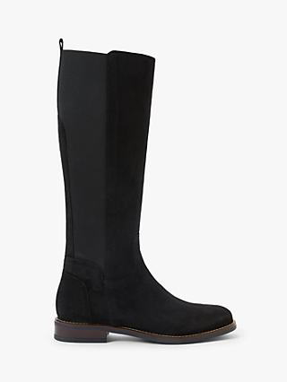 John Lewis & Partners Samoa Suede Riding Boots, Black