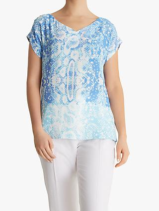Fenn Wright Manson Petite Python Short Sleeve Top, Blue Snake