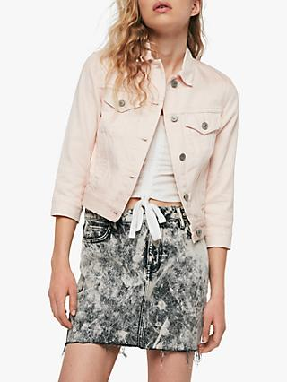AllSaints Ruby Denim Jacket, Pale Pink
