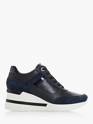 Dune Elouera Wedge Heel Leather Trainers