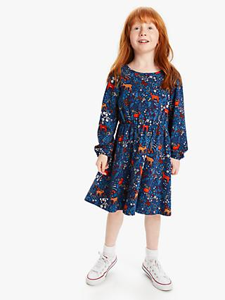 John Lewis & Partners Girls' Deer Print Dress, Navy