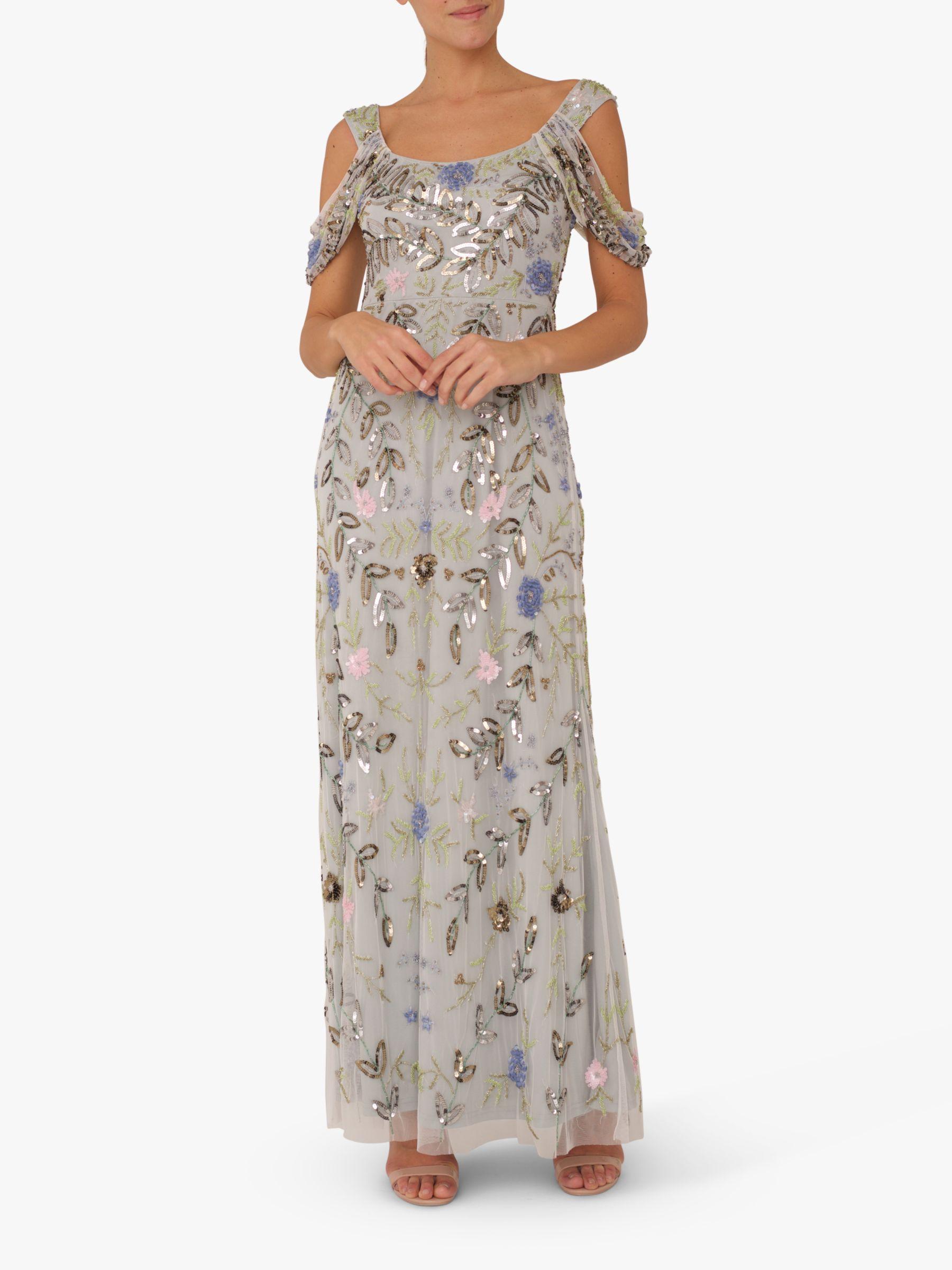 RAISHMA Raishma Cold Shoulder Embellished Gown, Blue