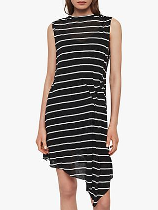 AllSaints Duma Stripe Dress, Black/Chalk White