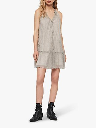 AllSaints Maisie Speckle Dress, Oyster White