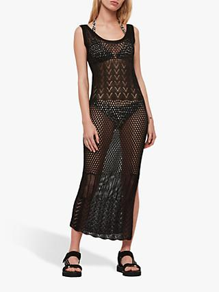 AllSaints Estero Open Crochet Dress, Black