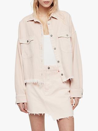 AllSaints Kyrie Denim Shirt Jacket, Pale Pink