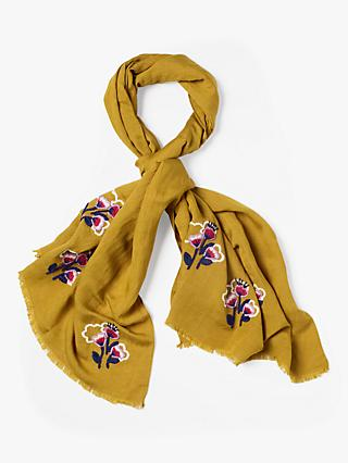 White Stuff Savannah Freida Floral Scarf, Golden Natural
