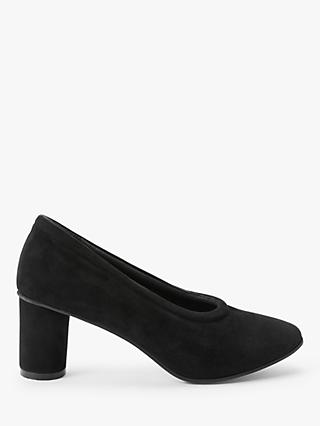 Kin Alisha Suede Cone Heel Court Shoes, Black