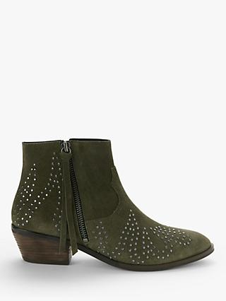 AND/OR Paloma Studded Suede Ankle Boots, Khaki