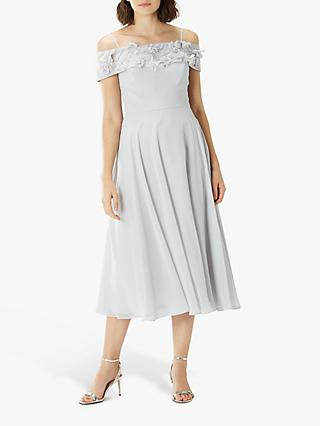 Coast Everly Embroidered Flared Dress, Silver