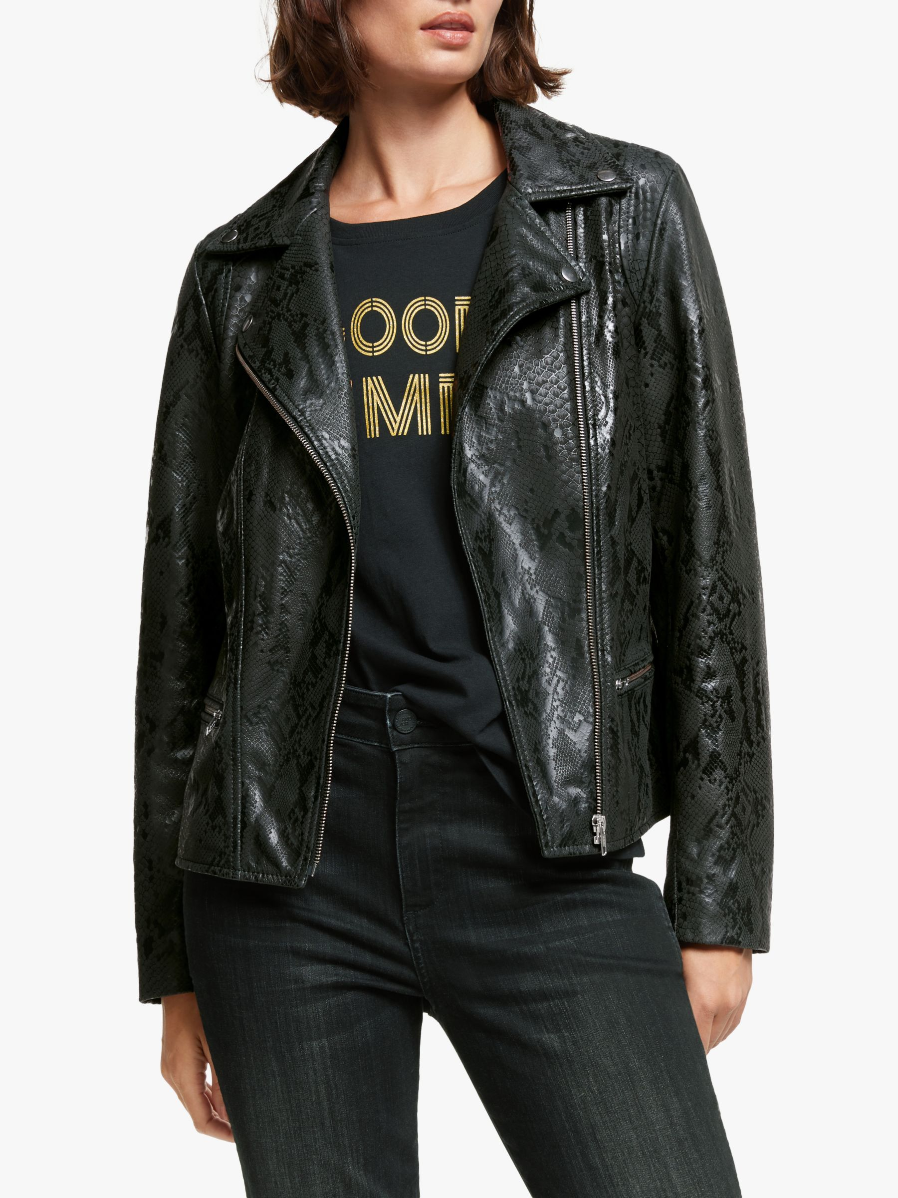 AND/OR AND/OR Snake Biker Jacket, Black