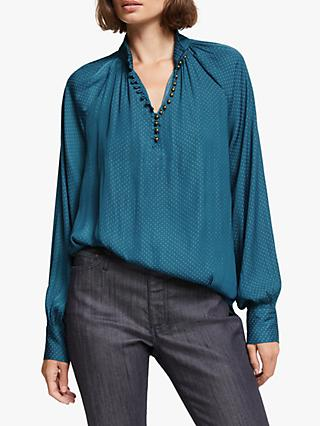 AND/OR Ivy Spot Print Blouse, Teal