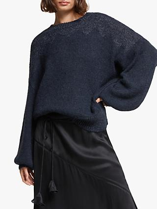AND/OR Tabitha Glitter Detail Jumper, Navy/Black