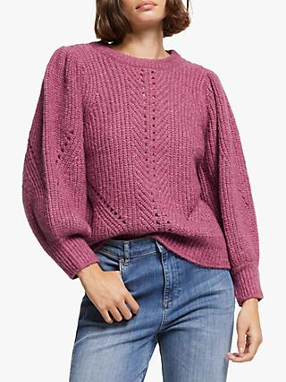 AND/OR Jasmin Puff Sleeve Textured Knit Jumper