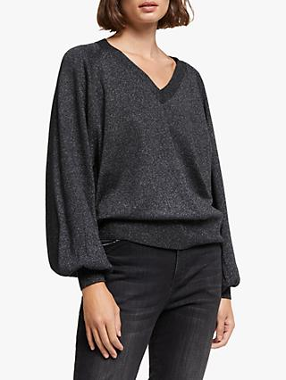AND/OR Lorenzo Glitter Knit Jumper, Black/Silver
