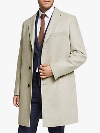 John Lewis & Partners Twill Tailored Epsom Coat, Oatmeal