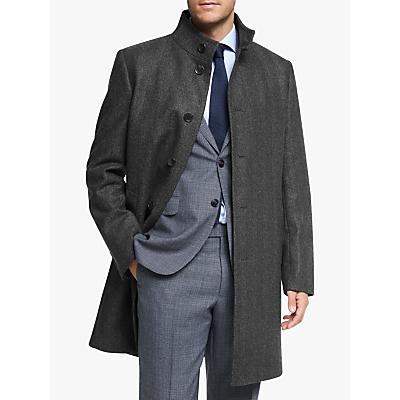 Image of John Lewis & Partners Herringbone Funnel Neck Overcoat, Grey