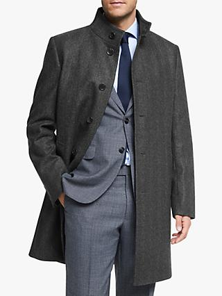 John Lewis & Partners Herringbone Funnel Neck Overcoat, Grey