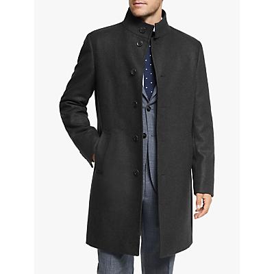Image of John Lewis & Partners Italian Twill Funnel Neck Tailored Overcoat