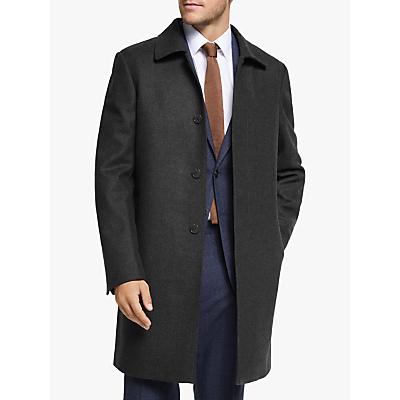 Image of John Lewis & Partners Shirt Collar Twill Tailored Overcoat, Dark Brown