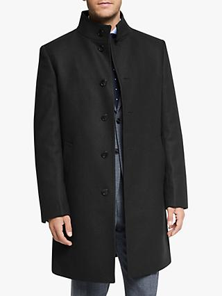 John Lewis & Partners Italian Twill Funnel Neck Tailored Overcoat