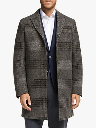 John Lewis & Partners Zegna Wool Silk Cashmere Tweed Topcoat, Brown