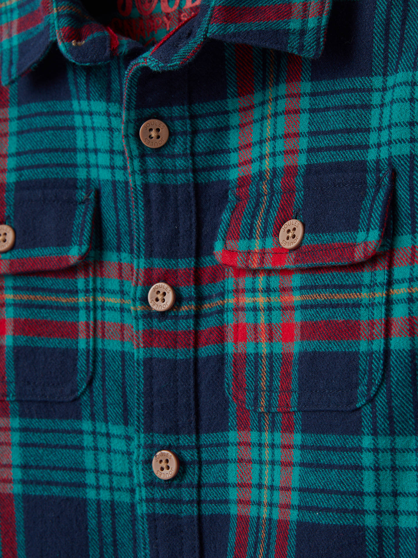 Joules Boys Hamish Brushed Check Shirt in French Navy Over Check