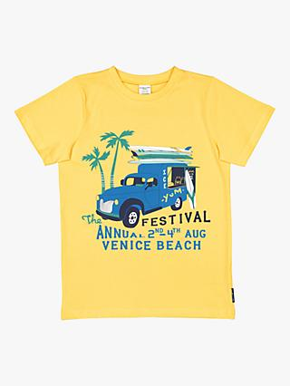 Polarn O. Pyret Children's Surf Van Graphic T-Shirt, Yellow