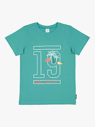 Polarn O. Pyret Children's GOTS Organic Cotton Graphic Print T-Shirt, Teal