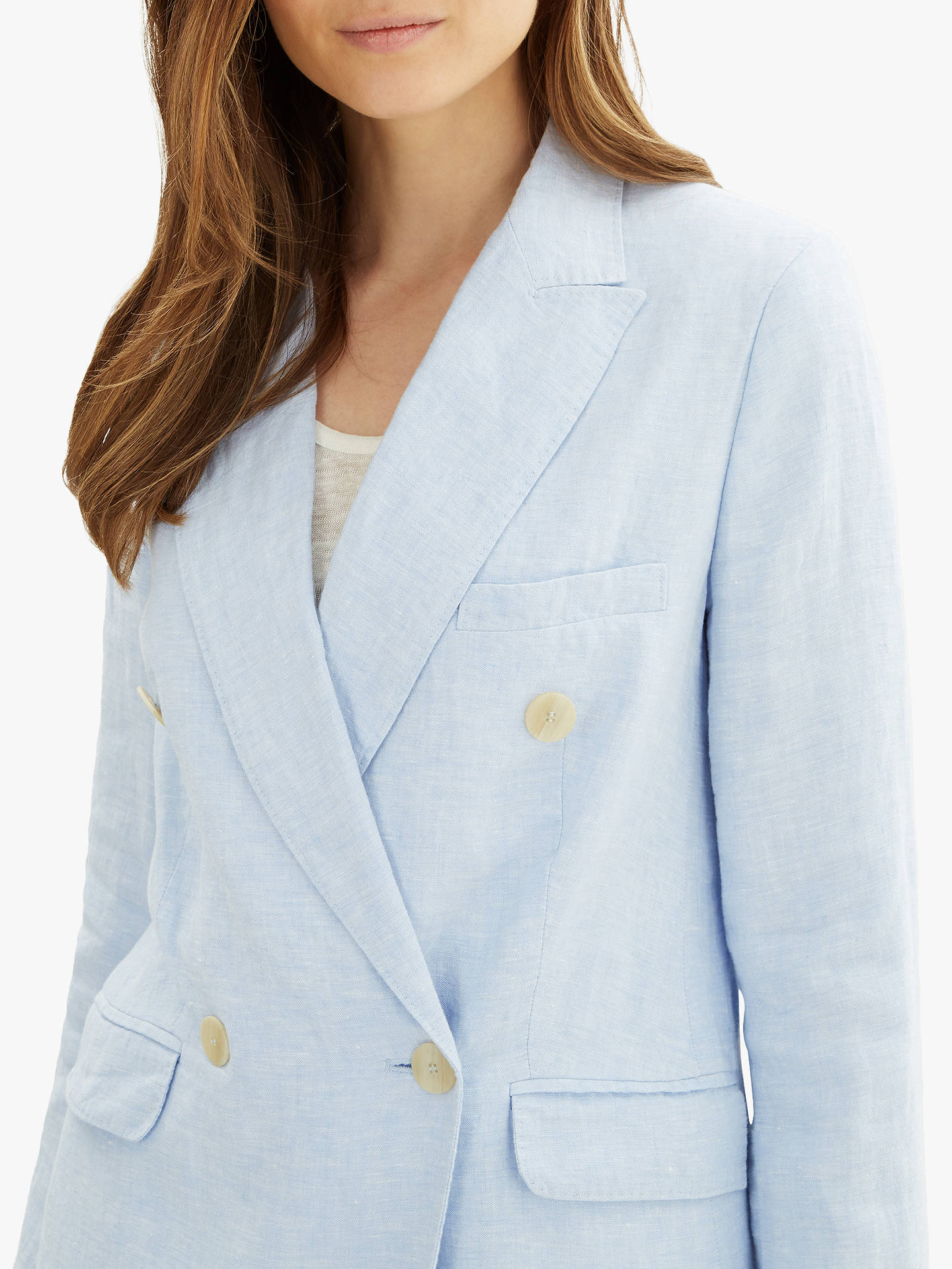 Buy Jaeger Linen Suit Blazer Jacket, Blue Mid, 10 Online at johnlewis.com